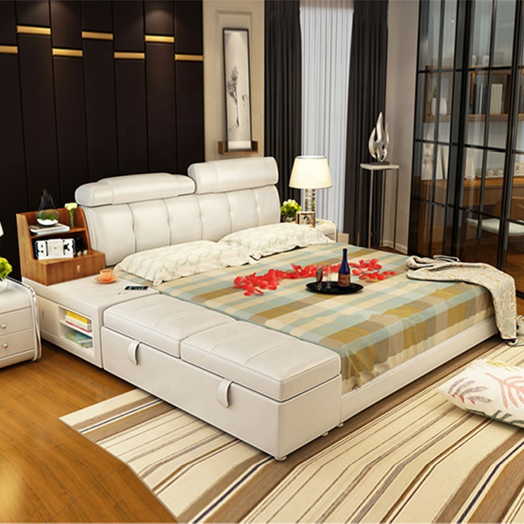 Japanese tatami home furniture extra large tatami leather bed frame double bed with storage cabinet