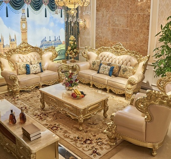 European Style Living Room Genuine Leather Sofa Sets Classical Design Antique Furniture