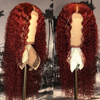 Red long water wave human hair