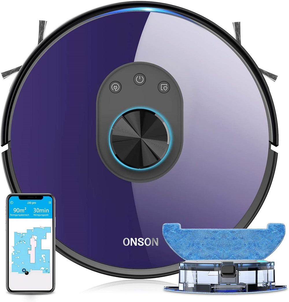 ONSON Der Beste Wisch und Saugroboter Wischroboter mit Wischfunktion Station
