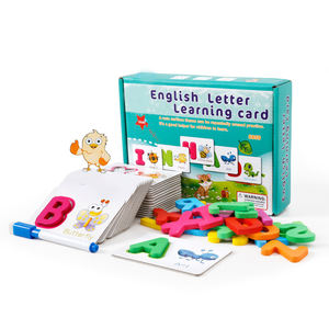 Montessori English Letter Learning Card Wooden Toy Cartoon Animals Matching Educational Alphabet Puzzle