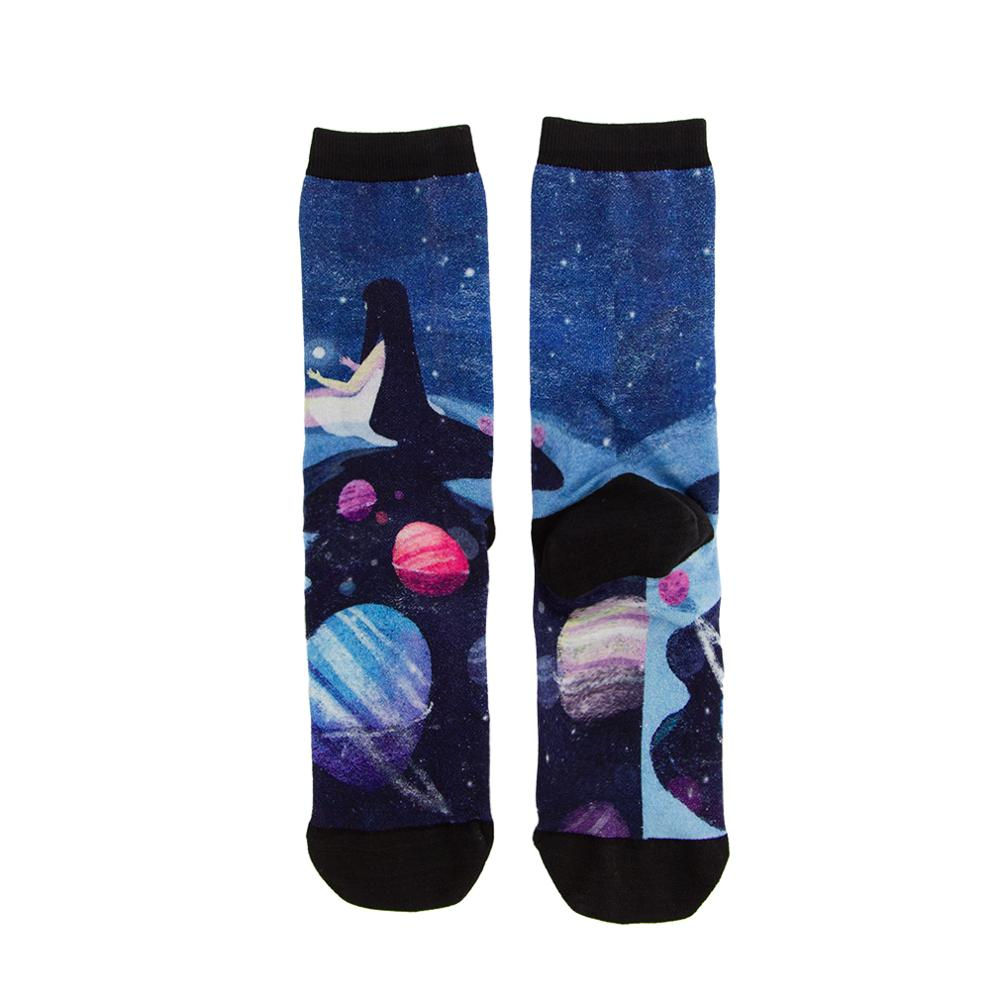 High Quality America Fashion Art Ink Wash Painting Bamboo Material Colorful Printing Socks