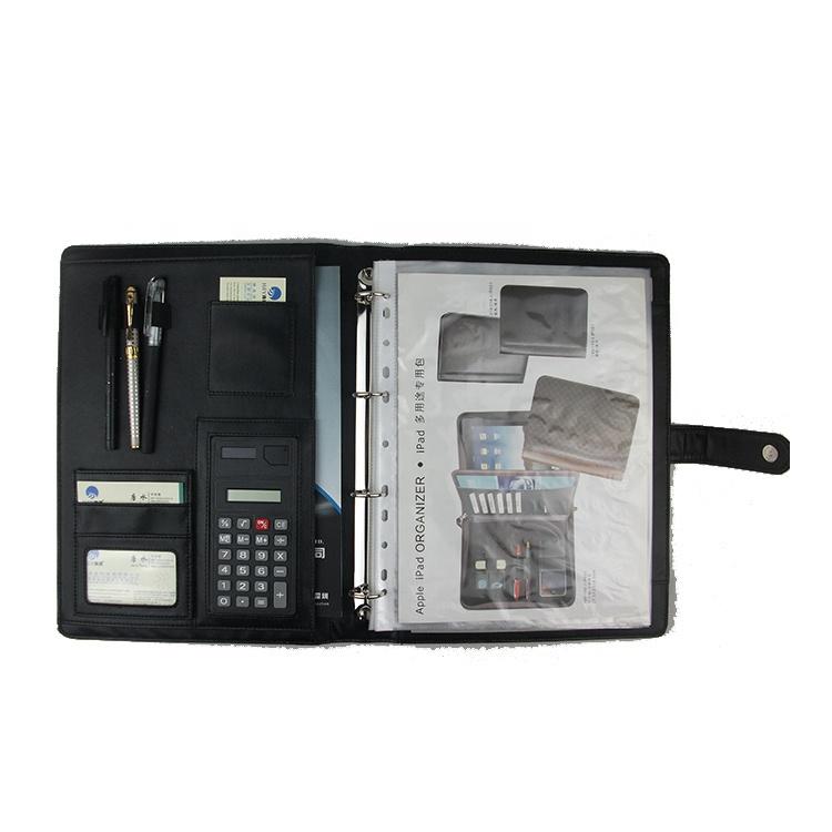 Многофункциональный блокнот из искусственной кожи с калькулятором для документов и документов A4