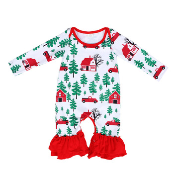 Baby Christmas Romper Clothes Round Neck Cartoon Printing Fall Autumn Kids Clothing Children Wholesale Boutique Romper