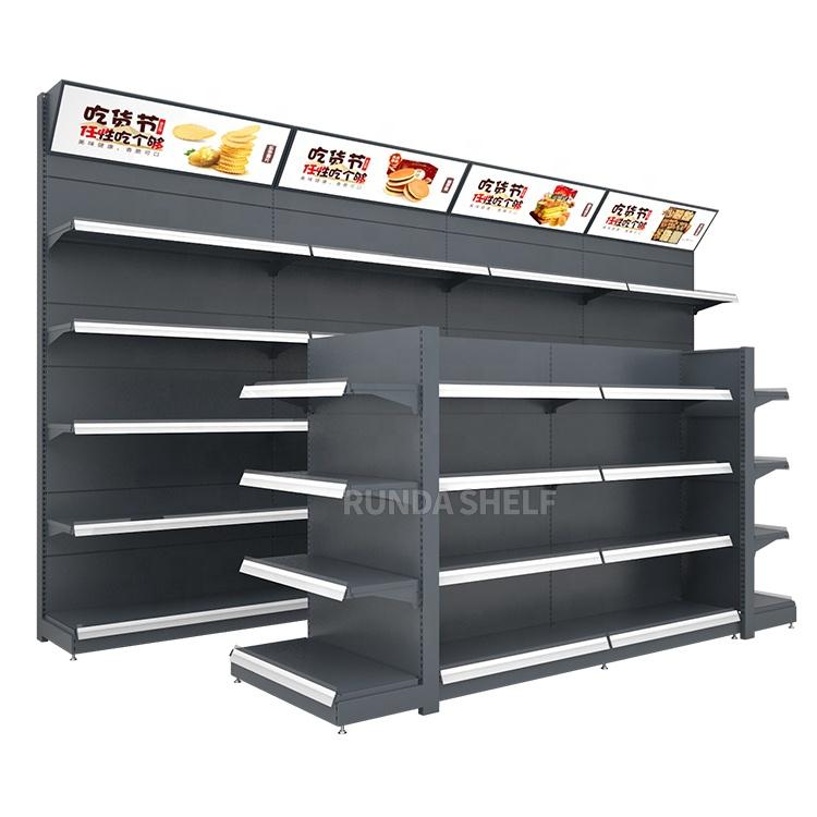 RunDa сверхмощные металлические полки для супермаркетов/стеллажи для магазинов/стеллажи для гондолы OEM