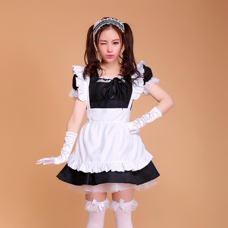 Women Dark Blue Maid Dress Cosplay Halloween Housekeeper Long Dress Waitress