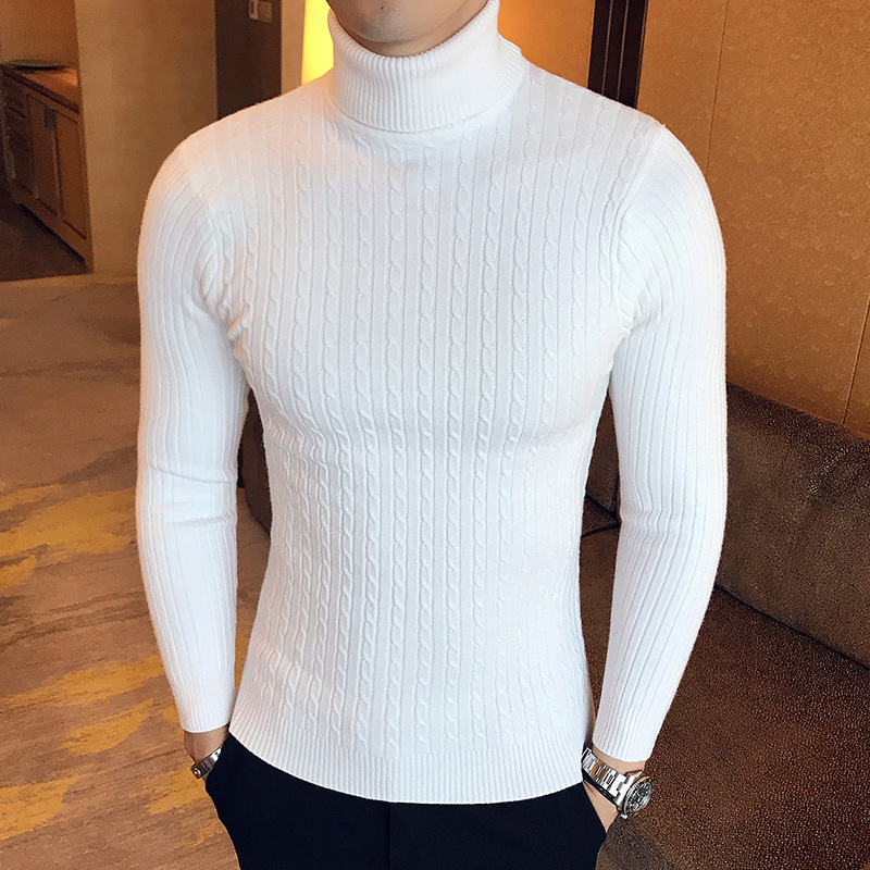 2021 Winter Warm Highneck Sweaters Casual Slim Knit Sweater for Men 5 Colors Sweater Pullover Mens Turtleneck