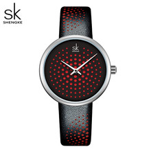 Shengke кожаные женские часы винтажные клетчатые кварцевые часы женские наручные часы Классические Оригинальные женские часы Reloj Para Mujer(China)