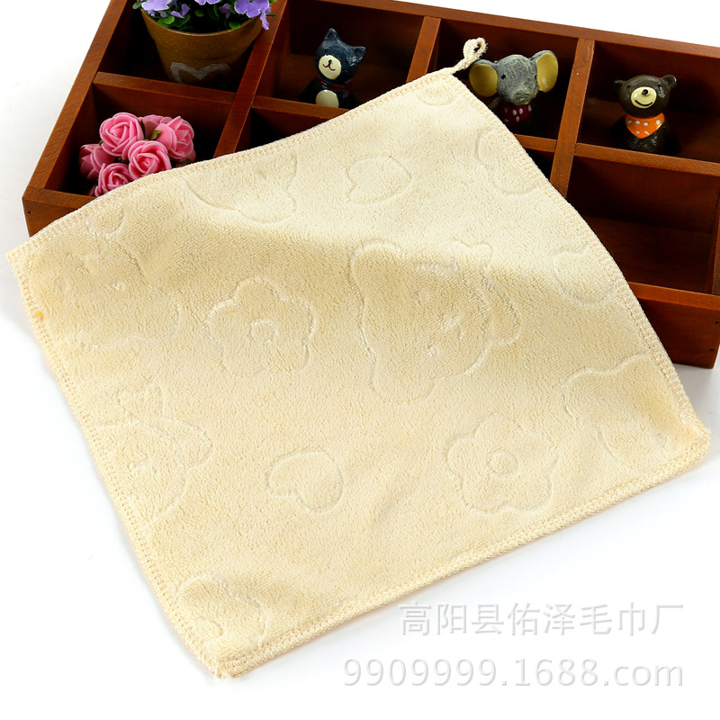 Cartoon Soft Microfiber Small Square Towel Absorbent Baby Hanging Saliva Handkerchief Cleaning Small Towel 25*25cm