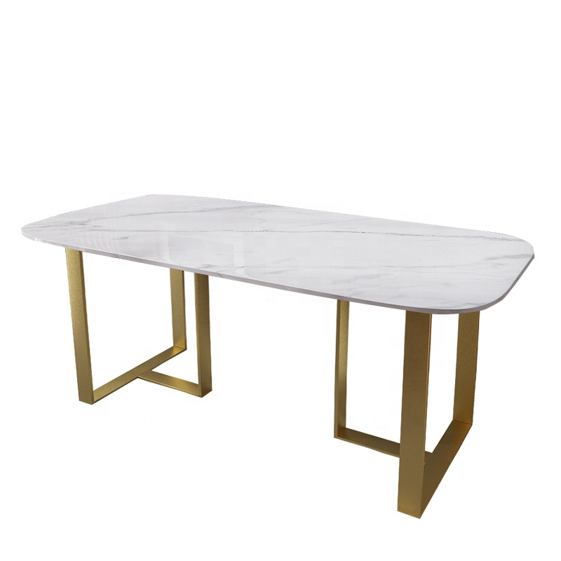 Modern European Apartment Large White Rectangular Marble Dining Table With Gold Metal Base Buy Rectangular Marble Top Dining Table 60 Inch Stone Top Metal Base Dining Tables Flower White Marble Dining Table Product