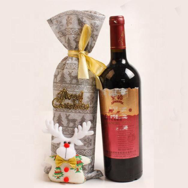 Bolsas de Fundas para Botellas de Vino Tapa de Botella de Vino de Navidad 3 Piezas Funda para Botella de Vino de Navidad Santa Claus Mu/ñeco Nieve Elk Dise/ño Su/éter de Navidad para Botella de Vino