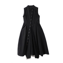 Женское платье-рубашка EAM, черное Сетчатое платье-рубашка с длинным рукавом, стоячим воротником, свободный крой, на весну, лето, 2020(Китай)