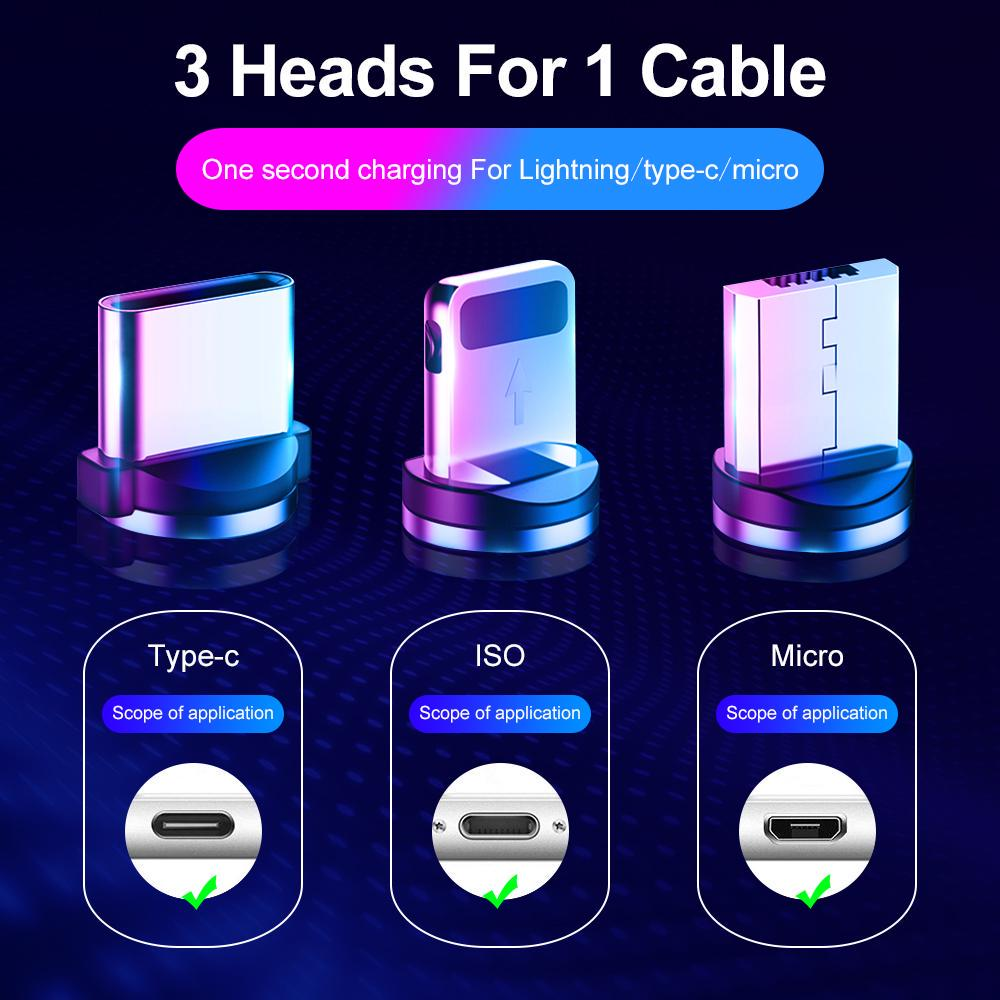 Custom Braided Cell Phone 3 In 1 Charging Magnet Kabel 2A Data Cable Magnetic Micro Usb Charger Cable For Iphone