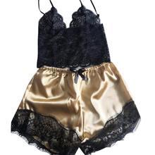 Комплект из 2 предметов, модная женская пижама, атласная кружевная майка с v-образным вырезом, короткая Пижама, женская сексуальная одежда дл...(Китай)