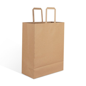 in stock guangzhou factory wholesale brown craft kraft paper gift packaging bags with handle for shopping garment