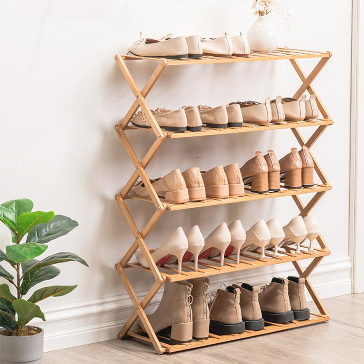 Складная полка для обуви, многослойная простая домашняя полка, полка для хранения в общежитии, Бесплатная установка, Бамбуковая коробка для обуви