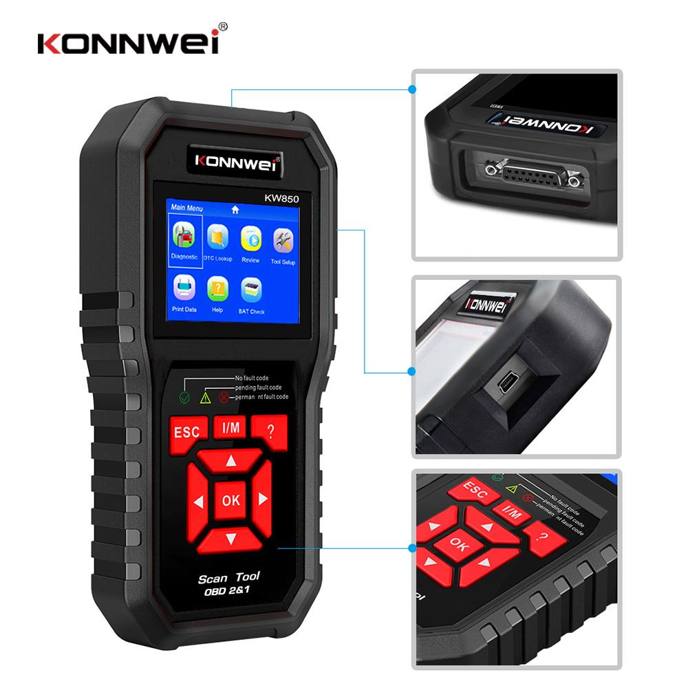 KONNWEI KW850 OBD2 Auto Diagnostic Scanner Engine Automotive Car Code Reader free updat lifetime