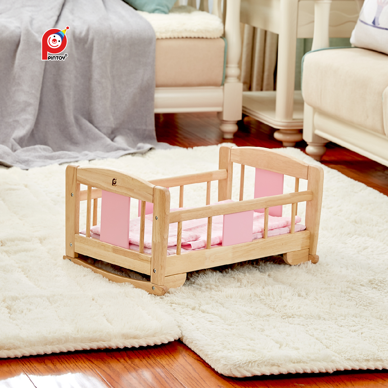 Pintoy Custom Pink Baby Crib Portable Newborn Natural Wood Multipurpose Designer Baby Crib Cradle