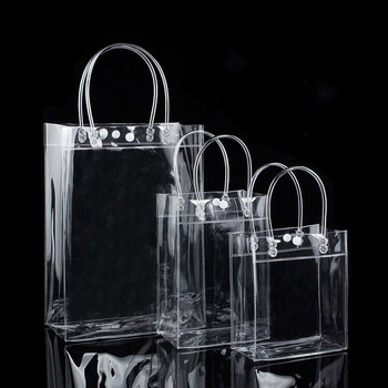 Good quality reusable strong custom logo transparent pvc shopping bag