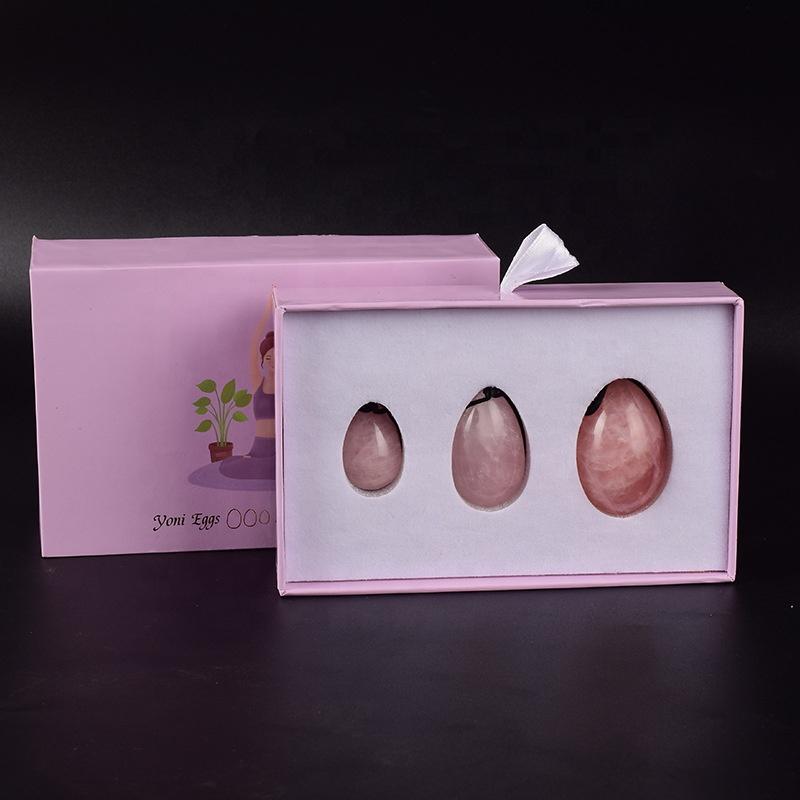 OEM кристалл розовый кварц нефрит Kegel Yoni Egg Set с индивидуальной подарочной упаковкой