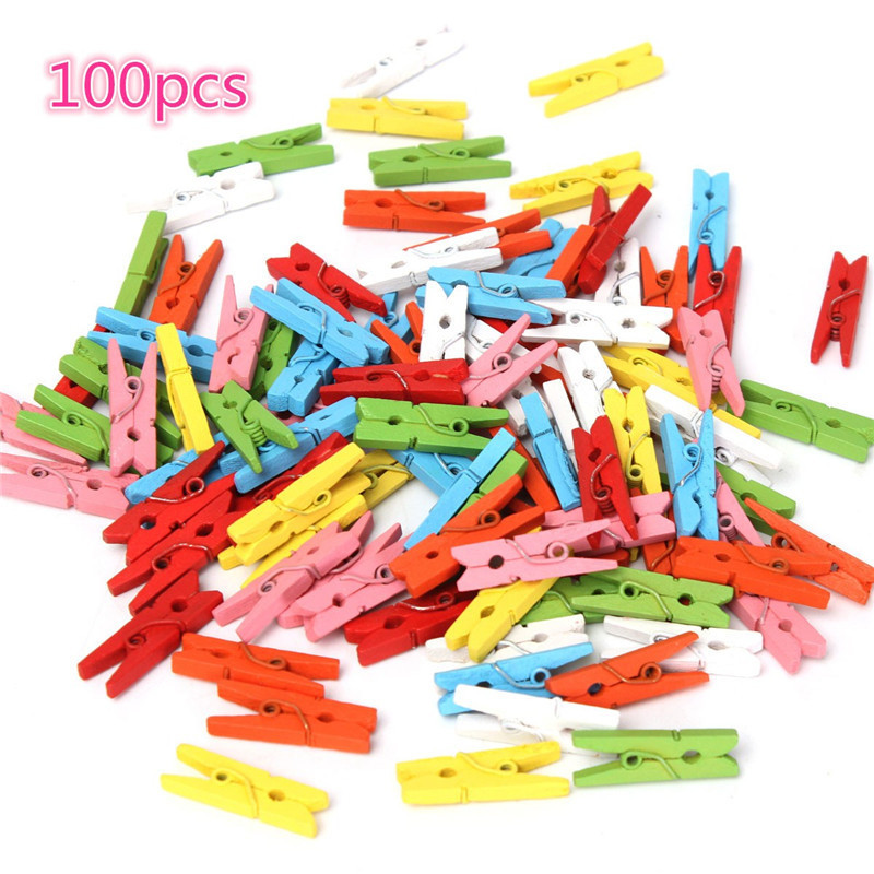 Mini Colorful Wooden Clip Office Supplies Photo Memo Peg Pin DIY Craft Postcard Decoration Clips Length