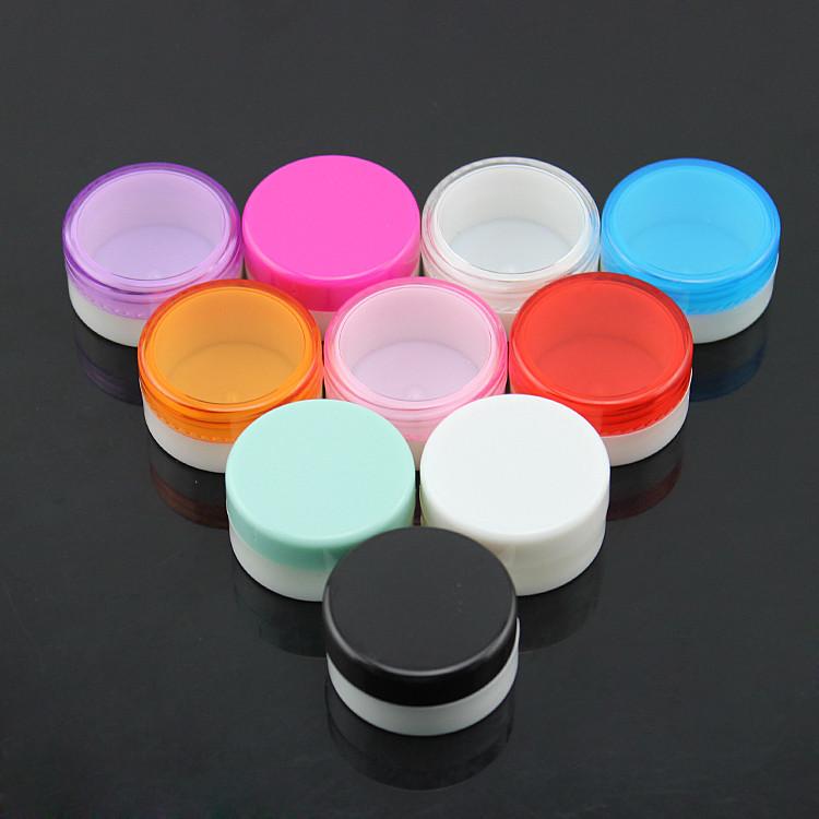 5 мл 5 г Белая пустая маленькая пластиковая банка для образцов крема с красочными крышками