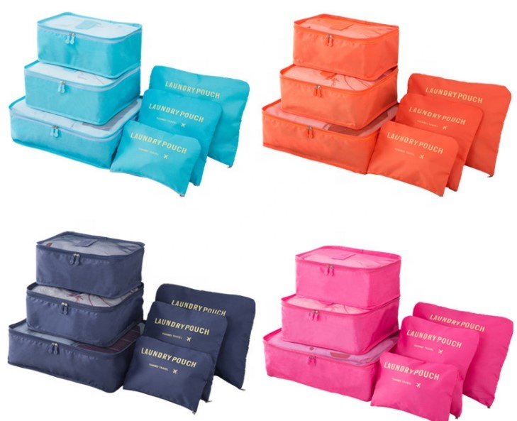 Low MOQ fashion 6 pcs compression luggage organizers travel bag personal packing cubes wholesale travel bag organizer