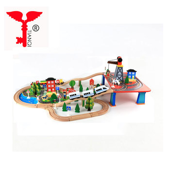 Traffic Mine Puzzle Thomas Train Railway Toy Rail Wooden slot car racing track set toy