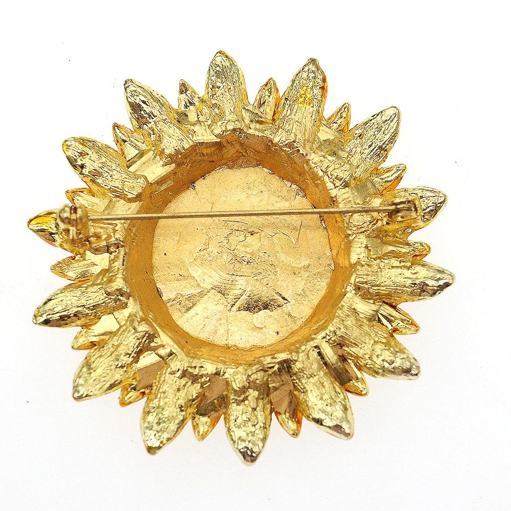 Бесплатная доставка, Элегантная Брошь в виде подсолнуха золотого цвета со стразами, позолоченное покрытие 60 мм для подарка, брошь в виде подсолнуха со стразами