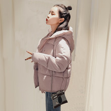 Женское пальто с хлопковой подкладкой, теплая однотонная куртка с длинными рукавами, новая одежда, зима-осень 2019(Китай)