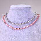 Stainless Steel Chain Cz Chain Necklace KRKC Pink Rose Gold Silver CZ Diamond Tennis Necklace Stainless Steel Women Chokers Chain Necklace Women Necklace For Women