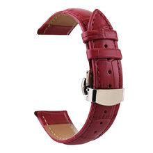 Женский и мужской кожаный ремешок унисекс 12-24 мм милый розовый двойной автоматический ремешок с бабочкой и бамбуковым узором(Китай)