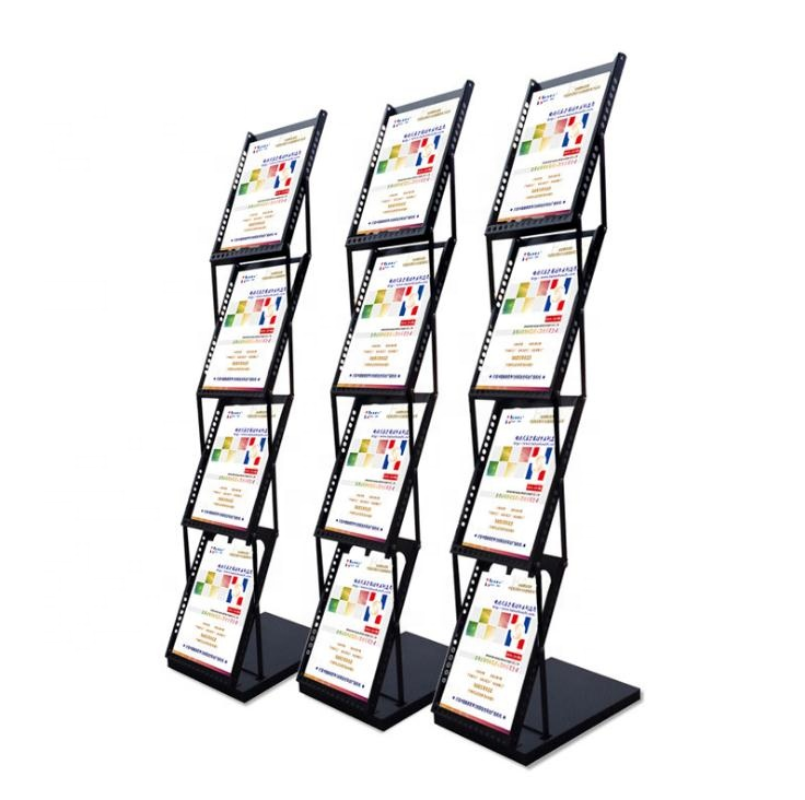 Iron A4 folding information frame landing propaganda folding portable display magazine vertical display stand