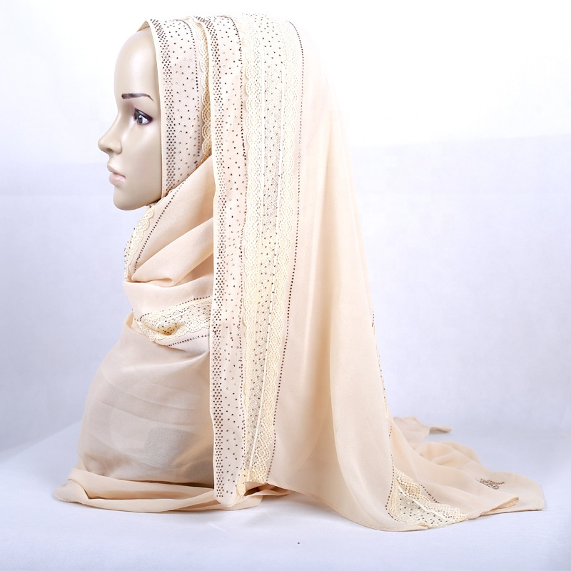 fashion islamic scarf women hijab wholesale lace chiffon under scarf arab hijab muslim kuwaiti
