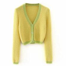 Женский модный лоскутный Укороченный кардиган, осень 2020, длинный рукав, v-образный вырез, шикарные топы, женский короткий свитер, кардиган, ...(Китай)