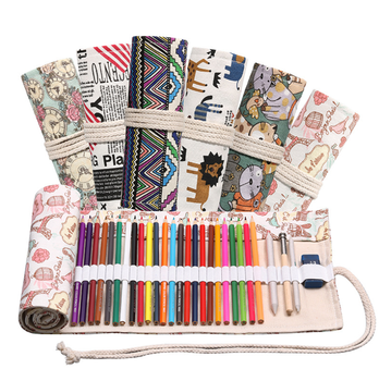 Multicolor Big Pencil Case Canvas Roll Up Pouch 48 Holes Pencilcase Sketch Brush pen Pencil Bag Tools
