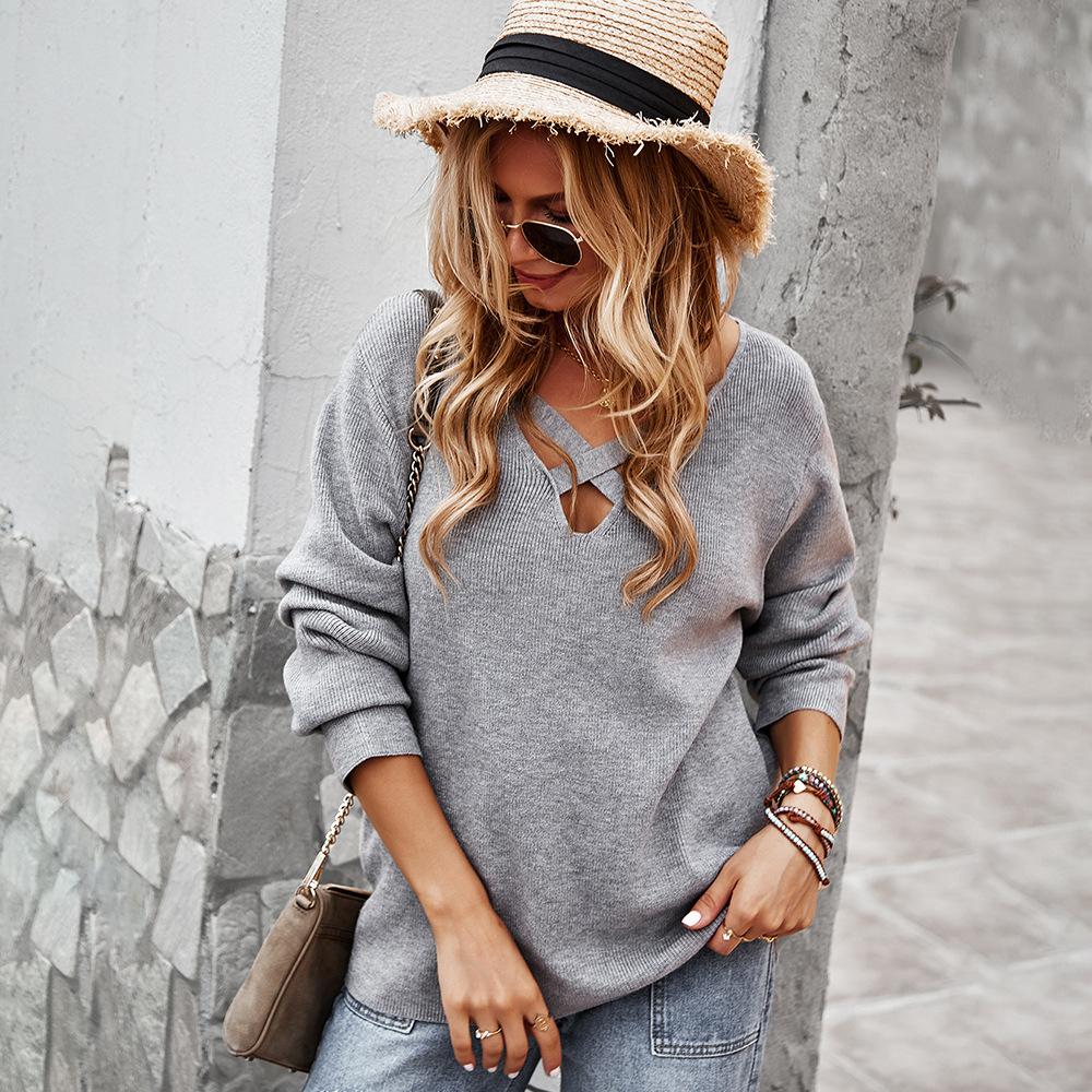 Женский Повседневный свитер осень-зима 2021 пикантный Топ с длинным рукавом и V-образным вырезом теплый топ