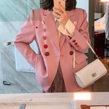 [EAM] Женский Цветной Блейзер на пуговицах с разрезом, новая свободная куртка с отворотом и длинным рукавом, модная демисезонная куртка 2020 1Y669(Китай)