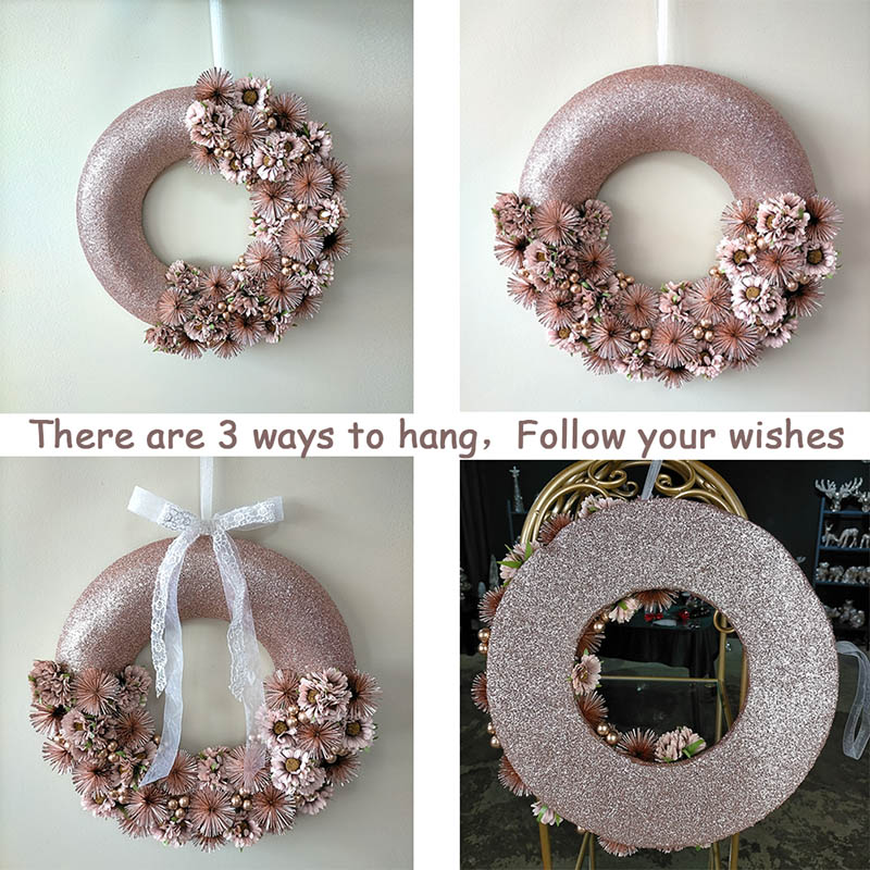 Everyday Wreath, Artificial Flowers Wreath for in door Decor in Rose Gold / Pink