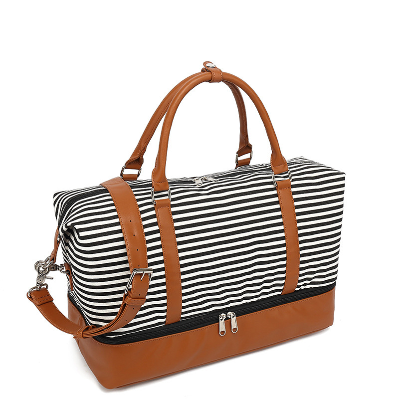 Fashion Double Layer Design Outdoor weekend Travel Waterproof Sport Tote Canvas leather duffle bag