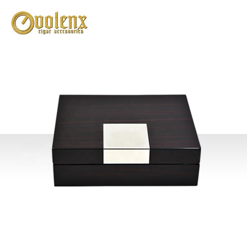 Package Box with Metal Plate Wholesale OEM Rectangular Ebony Wood WLJ-0316 Vintage Wood Box MDF 15-20 Days OEM Brand Velvet