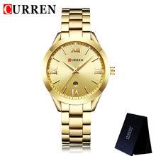 Женские часы CURREN, классические золотые часы из нержавеющей стали с ремешком, 9007(Китай)