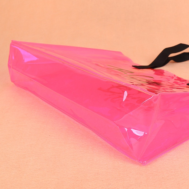 Custom print new design pvc logo bag glitter transparent plastic pvc clear vograce bag