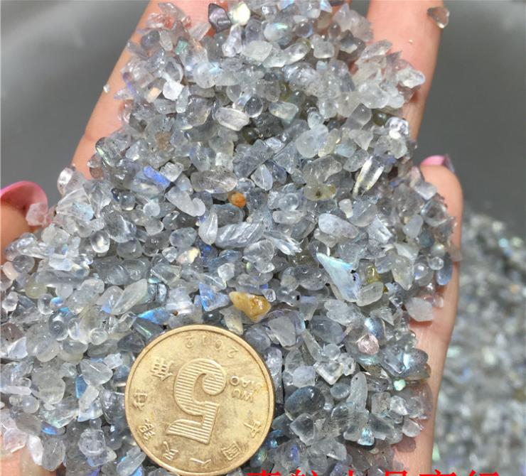 wholesale Natural rock blue moonstone gravel crystal tumbled stones