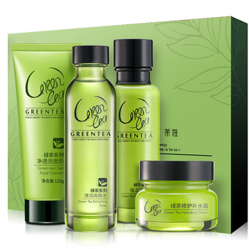 wholesale skin care products Green tea plant herbal Four-piece suit set skin care products for women