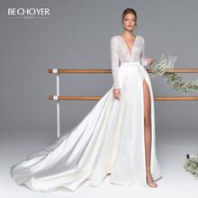BECHOYER роскошное атласное свадебное платье с длинным рукавом 2020 сексуальное бисерное ТРАПЕЦИЕВИДНОЕ платье для невесты принцессы Vestido de Noiva ...(Китай)