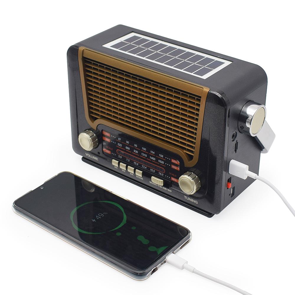 New Design Battery Vintage Solar Band Radio Fm Am Portable Mini Home Radio With BT USB TF  Flashlight