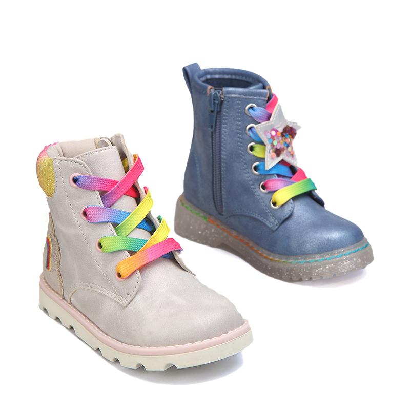Новинка 2021, яркие удобные детские зимние ботинки со шнуровкой и звездочками для маленьких девочек