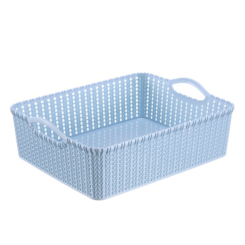 Amazon Best Selling Household Plastic Saving Space Portable rattan Books Toys Storage Basket Container Use in Office School