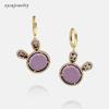 Gold plated purple stone earrings-24